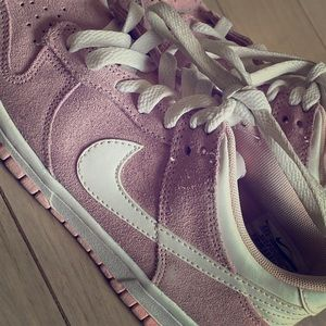Light pink suede Nike tennis shoes, youth size